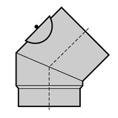 Bogen 45° steckbar roh St. 37/2 mm, fest mit Putzdeckel