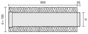 Rohr mit Isolation 50 mm, Länge 1000 mm