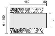 Rohr mit Isolation 50 mm, Länge 500 mm