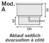 Kondensatschale mit Entwässerung 3/4″, Ablauf seitlich 1